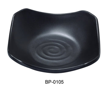 "Yanco BP-0105 Black pearl-1 New Square Dish, 5.5"" Length, 5.5"" Width,  Melamine, Black Color with Matting Finish, 48/case"