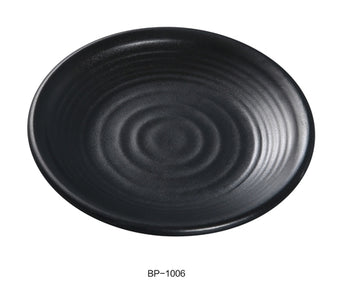 "Yanco BP-1006 Black pearl-1 Round Plate, 6"" Diameter, Melamine, Black Matting Finish, 48/case"