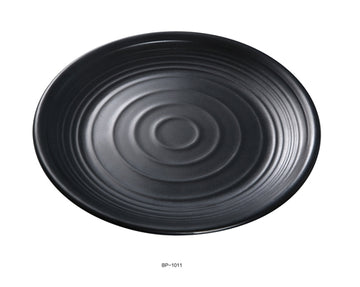 "Yanco BP-1011 Black pearl-1 Round Plate, 10.5"" Diameter, Melamine, Black Color with Matting Finish, 24/case"
