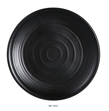 "Yanco BP-1012 Black pearl-1 Round Plate, 12"" Diameter, Melamine, Black Color with Matting Finish, 12/case"