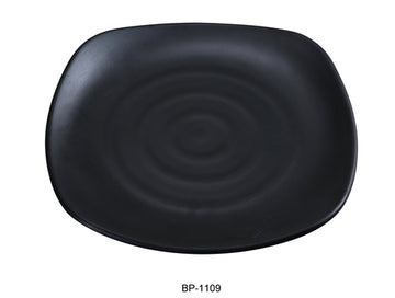 "Yanco BP-1109 Black pearl-1 Square Plate, 9"" Length, 9"" Width, Melamine, Black Color with Matting Finish, 24/case"