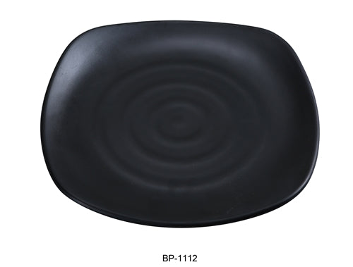 "Yanco BP-1112 Black pearl-1 Square Plate, 12"" Length, 12"" Width, Melamine, Black Color with Matting Finish, 12/case"