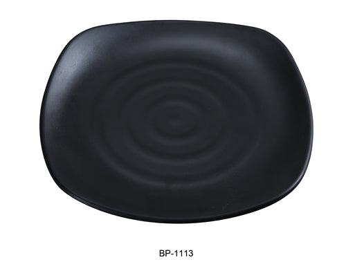"Yanco BP-1113 Black pearl-1 New Square Plate, 13.25"" Length, 13.25"" Width, Melamine, Black Color with Matting Finish, 12/case"