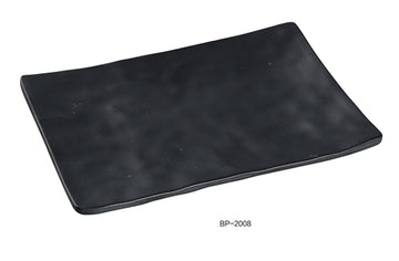 "Yanco BP-2008 Black pearl-1 Rectangular Plate, 8"" Length, 5.5"" Width, Melamine, Black Color with Matting Finish, 48/case"