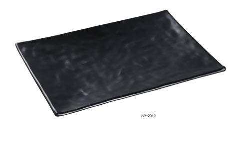 "Yanco BP-2010 Black pearl-1 Rectangular Plate, 10"" Length, 7"" Width, Melamine, Black Color Matting Finish, 48/case"
