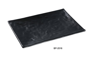 "Yanco BP-2016 Black pearl-1 New Rectangular Plate, 10.25"" Width, 16"" Length, Melamine, Black Color with Matting Finish, 12/case"