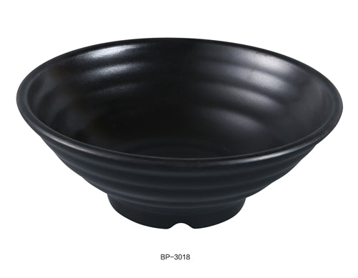"Yanco BP-3018 Black Pearl-2 Bowl, 26 oz , 8"" Diameter, 3"" Height, Melamine, Black Color with Matting Finish, 24/case"