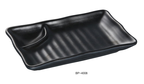 "Yanco BP-4008 Black Pearl-2 Compartment Plate, 8"" Length, Melamine, Black Color with Matting Finish, Pack of 48"