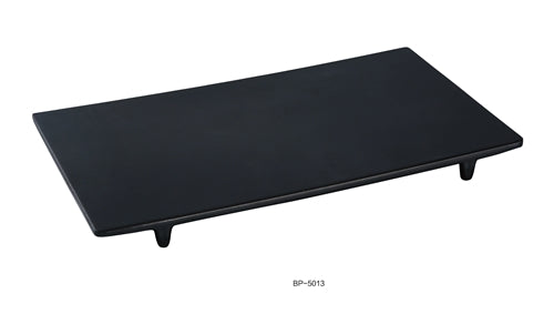 "Yanco BP-5013 Black Pearl-2 Display Plate,  13"" Length, 7.5"" Width, 1"" Height, Melamine, Black Color with Matting Finish, Pack of 12"