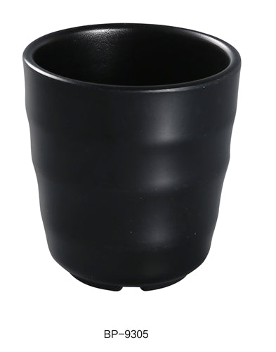 "Yanco BP-9305 Black Pearl-2 Tea Cup, 7 oz Capacity, 3.5"" Diameter, 3"" Height, Melamine, Black Color with Matting Finish, Pack of 48"