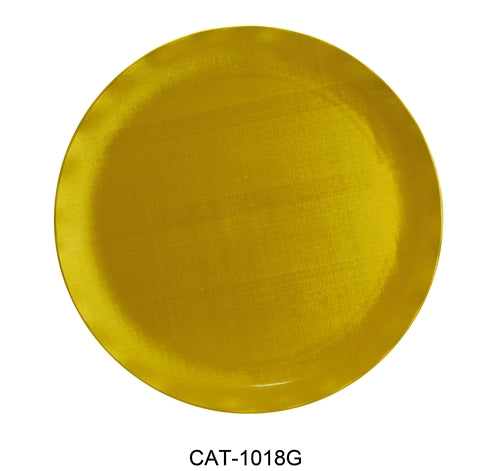 "Yanco CAT-1018G Catering Round Plate, 18"" Diameter, Melamine, Gold Color, Pack of 6"