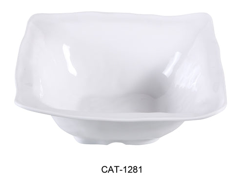 "Yanco CAT-1281 Catering 5.5 qt Square Bowl, 14"" Length, 14"" Width, 5.25"" Height, Melamine, White Color, Pack of 6"