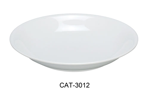 "Yanco CAT-3012 Catering Round Bowl, 60 oz Capacity, 2"" Height, 12"" Diameter, Melamine, White Color, Pack of 12"