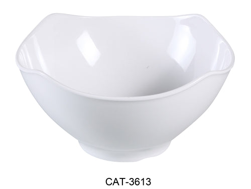 "Yanco CAT-3613 Catering 5.5 qt Bowl, 12.5"" Length, 12.5"" Width, 5.25"" Height, Melamine, White Color, Pack of 6"