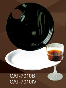 "Yanco CAT-7010B Catering Party Plate, 10.5"" Diameter, Melamine, Black Color, Pack of 24"