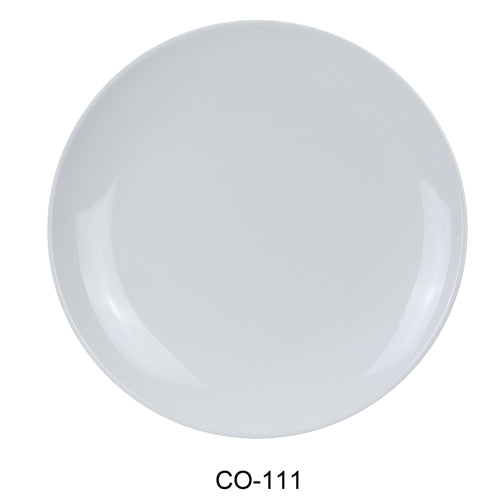 "Yanco CO-111 Coupe Pattern Round Plate, 11"" Diameter, Melamine, White Color, Pack of 24"