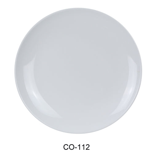 "Yanco CO-112 Coupe Pattern Round Plate, 12"" Diameter, Melamine, White Color, Pack of 24"