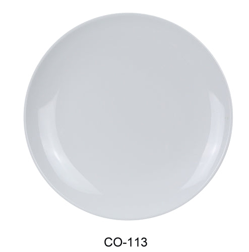 "Yanco CO-113 Coupe Pattern Round Plate, 13"" Diameter, Melamine, White Color, Pack of 12"