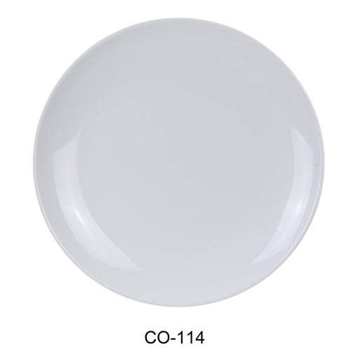 "Yanco CO-114 Coupe Pattern Round Plate, 14"" Diameter, Melamine, White Color, Pack of 12"
