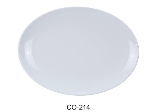 "Yanco CO-214 Coupe Pattern Oval Platter, 14"" Length, 10"" Width, Melamine, White Color, Pack of 12"