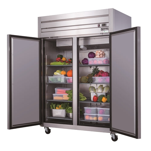 Dukers D55AR Commercial 2-Door Top Mount Refrigerator in Stainless Steel