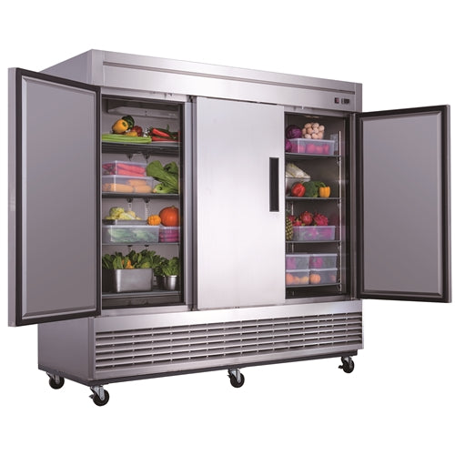 Dukers D83R 3-Door Commercial Refrigerator in Stainless Steel