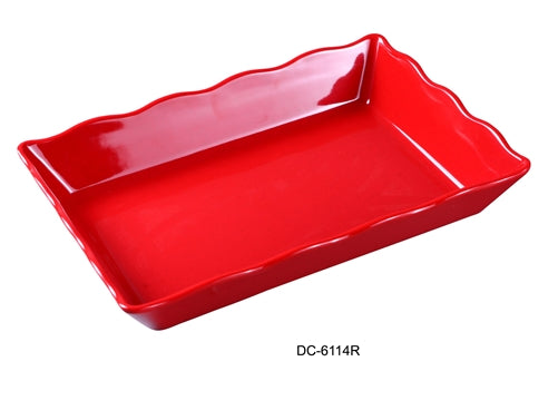 "Yanco DC-6114R Deli Collection Scallop Edged Display Tray, 14"" Length, 9.5"" Width, 2"" Height, Melamine, Red with Black Speckled, Pack of 6"