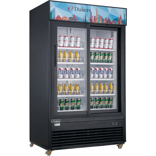Dukers DSM-40SR Commercial Glass Sliding 2-Door Merchandiser Refrigerator in Black