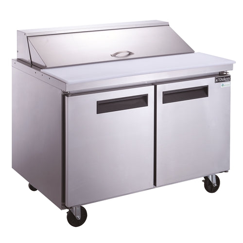 Dukers DSP48-12-S2 2-Door Commercial Food Prep Table Refrigerator in Stainless Steel