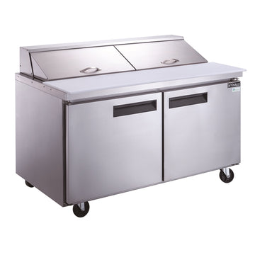 Dukers DSP60-16-S2 2-Door Commercial Food Prep Table Refrigerator in Stainless Steel
