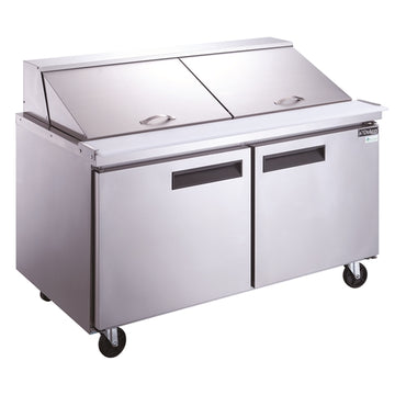 Dukers DSP60-24M-S2 2-Door Commercial Food Prep Table Refrigerator in Stainless Steel with Mega Top