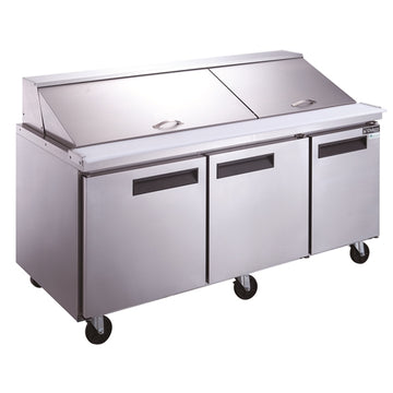 Dukers DSP72-30M-S3 3-Door Commercial Food Prep Table Refrigerator in Stainless Steel with Mega Top