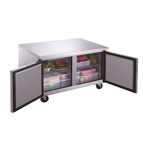 Dukers DUC48R 2-Door Undercounter Refrigerator in Stainless Steel