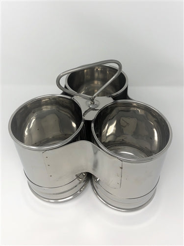 Stainless Steel Deep Chomukha with 3 Bowls