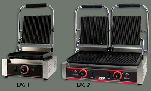 Winco EPG-2 Electric Double Panini Grill with Dual 9-in Ribbed Plates
