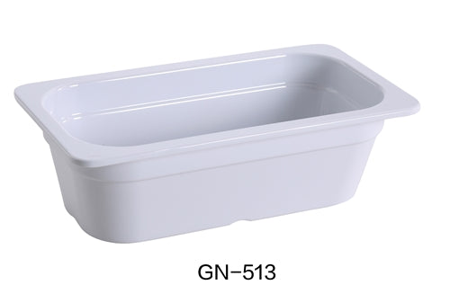 "Yanco GN-513 GN PAN 12.75"" X 7"" X 4"" PAN, 2.3 Liter, White, Melamine, Pack of 6"
