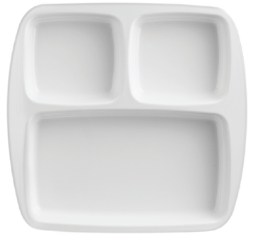 Melamine 3 Divided 10 inch Rect Plate White, Pack of 12