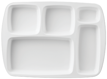 Melamine 5 Divided Rect Plate 13 inch x 9.5 inch White, Pack of 6
