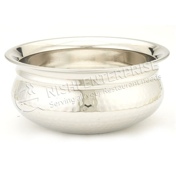 Handi - Indian Tureen Serving Bowl - Hand Hammered Stainless Steel - 32 Oz.