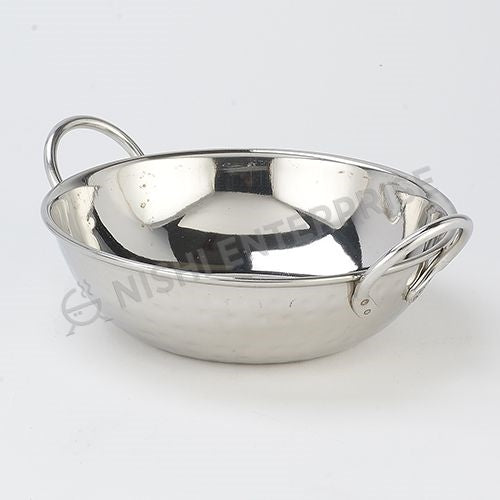 Indian Style Serving Bowl With Wire Handle Hammered Stainless Steel - 22 oz