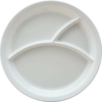 "Melamine 3 Divided 10"" Plate Round White, Pack of 6"