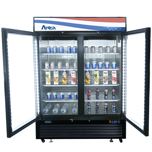 Atosa MCF8723GR - Black Exterior Glass Two Door Merchandiser
