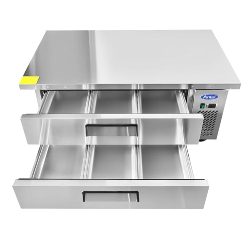 ATSOA 52 Inch 2 Drawer Refrigerated Extended Top Chef Base