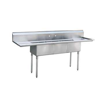 ATOSA  MRSA-3-D Three Compartment Sink 18 Inch Galvanized tubular legs