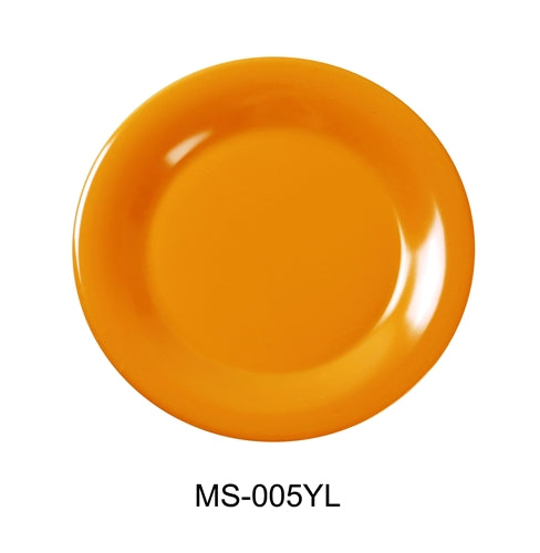 "Yanco MS-005YL Mile Stone Wide Rim Round Plate, 5.5"" Diameter, Melamine, Yellow Color, Pack of 48"