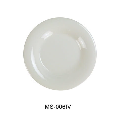 "Yanco MS-006IV Mile Stone Wide Rim Round Plate, 6.5"" Diameter, Melamine, Ivory Color, Pack of 48"