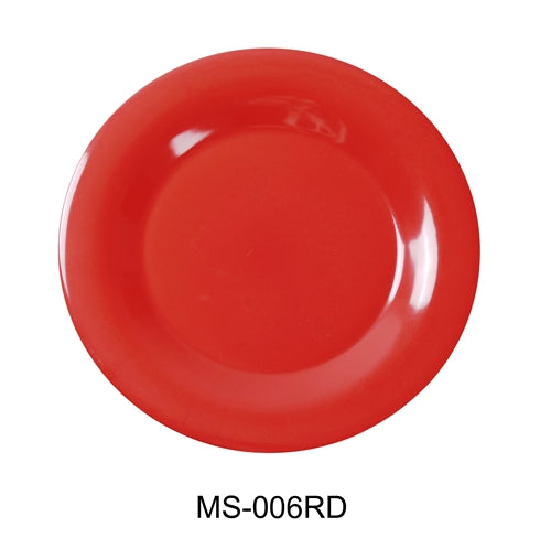 "Yanco MS-006RD Mile Stone Wide Rim Round Plate, 6.5"" Diameter, Melamine, Orange Red Color, Pack of 48"