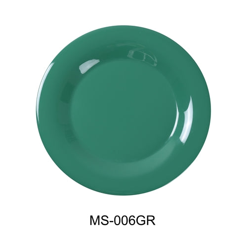"Yanco MS-007GR Mile Stone Wide Rim Round Plate, 7.5"" Diameter, Melamine, Green  Pack of 48"