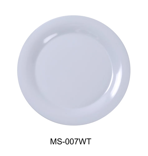 "Yanco MS-007WT Mile Stone Wide Rim Round Plate, 7.5"" Diameter, Melamine, White Color, Pack of 48"