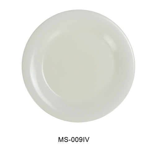 "Yanco MS-009IV Mile Stone Wide Rim Round Plate, 9"" Diameter, Melamine, Ivory, Pack of 24"